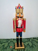 "Natural Wood Christmas 16"" Nutcracker Doll Decoration Jeweled Crown Soldier - $12.87"