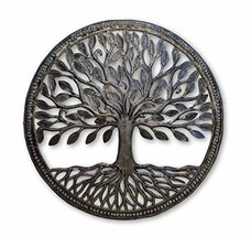Small Steel Drum Organic Tree of Life Framed, 17.25 in. Round, Recycled Metal Ar
