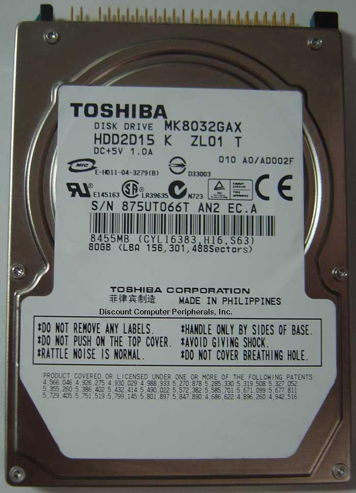 "New Toshiba MK8032GAX HDD2D15 80GB 2.5"" IDE 44PIN Hard Drive Free USA Ship"