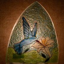 Fused Art Glass Hummingbird w Flower Nightlight Night Light Handmade in Ecuador image 7
