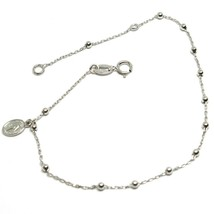 18K WHITE GOLD MINI ROSARY BRACELET, 1.5 MM SPHERES, MIRACULOUS MEDAL, 7... - $105.00