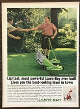 1962 Lawn-Boy Mower Print Ad Goofy Shorts Socks Guy Shaking Hands w Neig... - $11.89