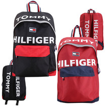 Tommy Hilfiger Logo Canvas Luggage School Backpack Shoulder Zipper Book bag