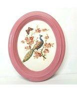 Vintage Ceramic Oval Wall Hanging Handmade Peacock Transfer-ware Pink Ma... - $17.09