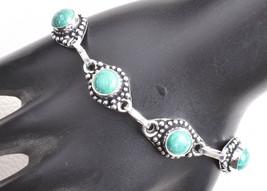 925 Sterling Silver Polished Handmade Charm Bracelet Malachite Gemstone ... - $17.45