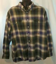 VTG Tommy Hilfiger Blue Green Plaid Button Front Dress Shirt Sz XL Long ... - $12.19