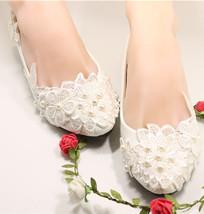 Women's Ivory bridal ballet flats,Lace Wedding Shoes,Mermaid beach wedding shoes - $39.99