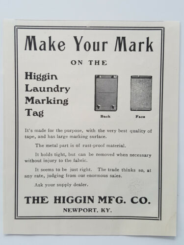 Primary image for 1911 Higgin Manufacturing Commercial Laundry Marking Tags Vtg Magazine Print Ad