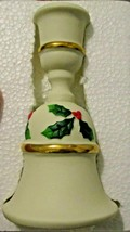 Bell Candle Holder Partylite P0143 in Bisque w/ Holly & Berries - $9.74