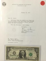 """1974 AUTOGRAPHED $1 FEDERAL RESERVE NOTE BY THE TREASURER & SECRETARY """"C... - $225.00"""