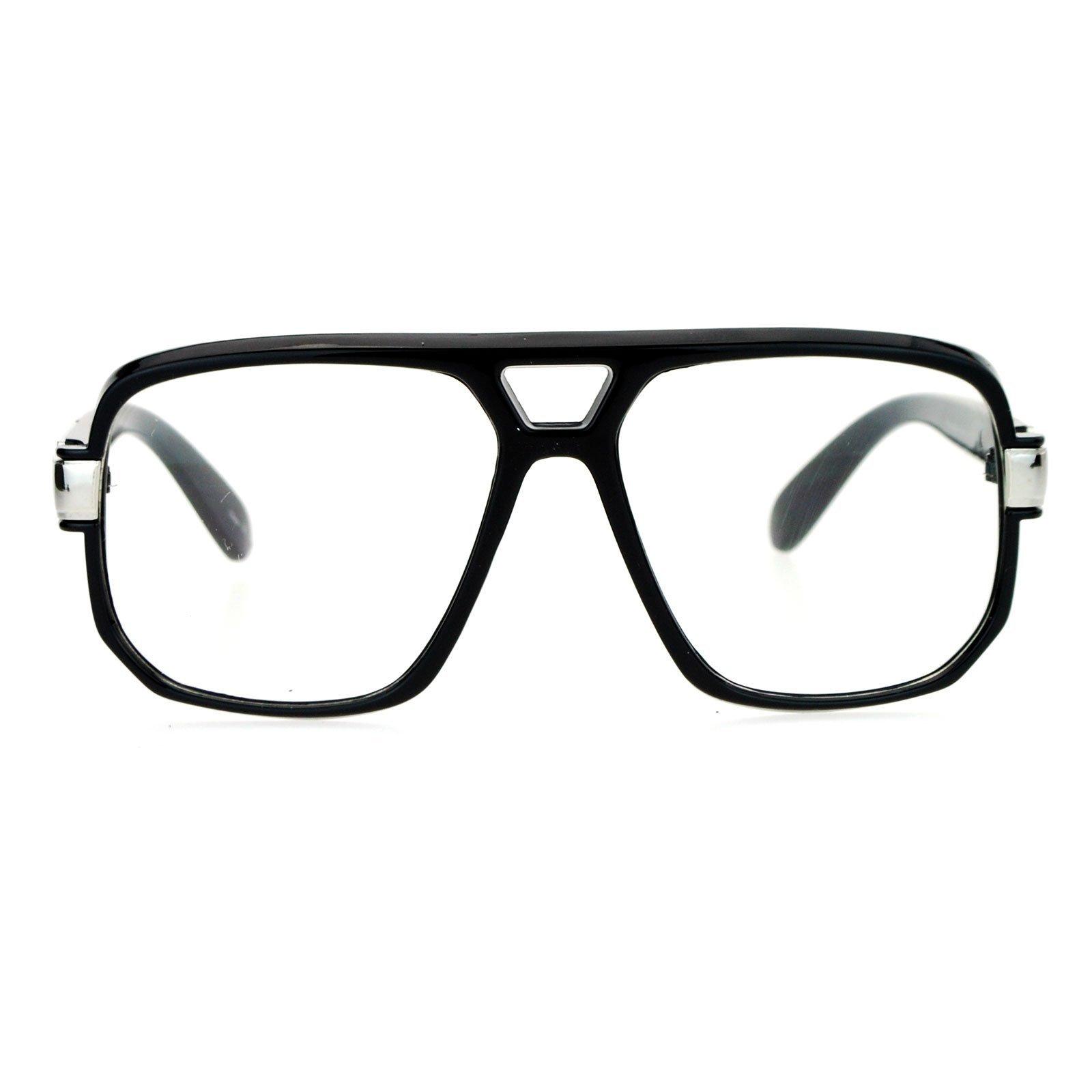 SA106 Retro Hip Hop Rapper Oversize Rectangular Mob Eye Glasses Black