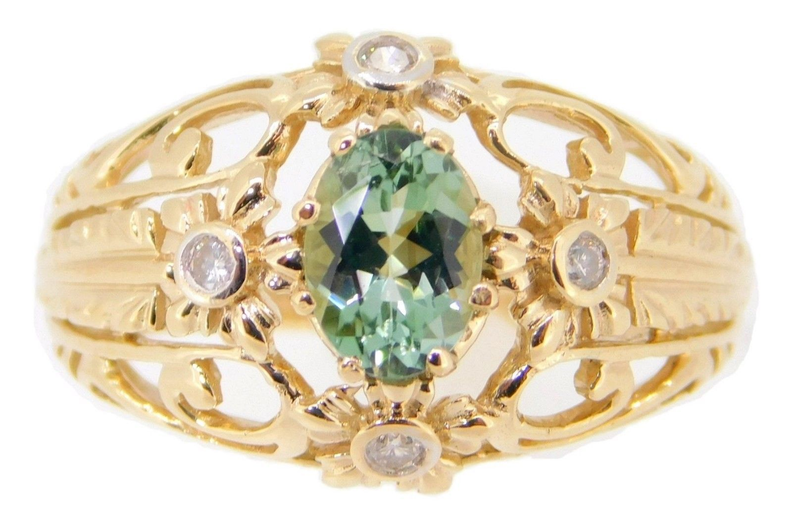 Primary image for 10k Gold .72ct Green Genuine Natural Tourmaline Ring with Diamonds (#J3987)