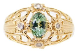 10k Gold .72ct Green Genuine Natural Tourmaline Ring with Diamonds (#J3987) - $375.25