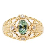 10k Gold .72ct Green Genuine Natural Tourmaline Ring with Diamonds (#J3987) - £286.98 GBP