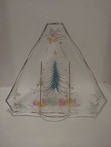 Pressed Glass Christmas Tree Dish Candy Dish Colorful Triangular 10 inch - $9.49