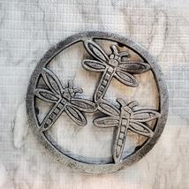 Cast Iron Trivet, Dragonfly Design, Metal Hot Mat, Pot Mat, Dragonflies Decor