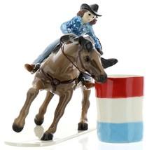 Hagen-Renaker Specialties Ceramic Horse Figurine Rodeo Barrel Racer with Barrel image 1