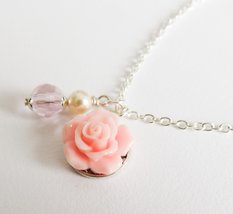 Pink flower necklace, flower girl necklace, pink children's jewelry - $9.45