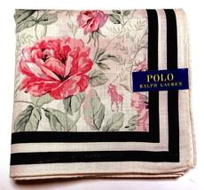 POLO Ralph Lauren Handkerchief hanky scarf bandana Beige Flower Auth New - $23.76
