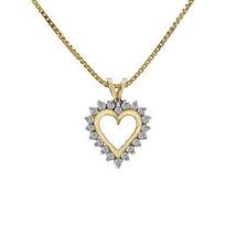 0.35 Carat Round Cut Diamond Heart Pendant On Box Link Chain 14K Yellow Gold - $345.51