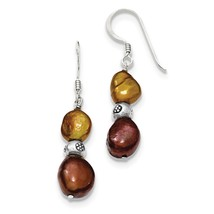 Sterling Silver Brown & Copper FW Cultured Pearl Dangle Earrings QE6136V... - $18.89