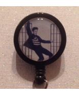 Elvis Jailhouse Rock Badge Reel Id Holder Alligator Clip Black Handmade New - $8.99