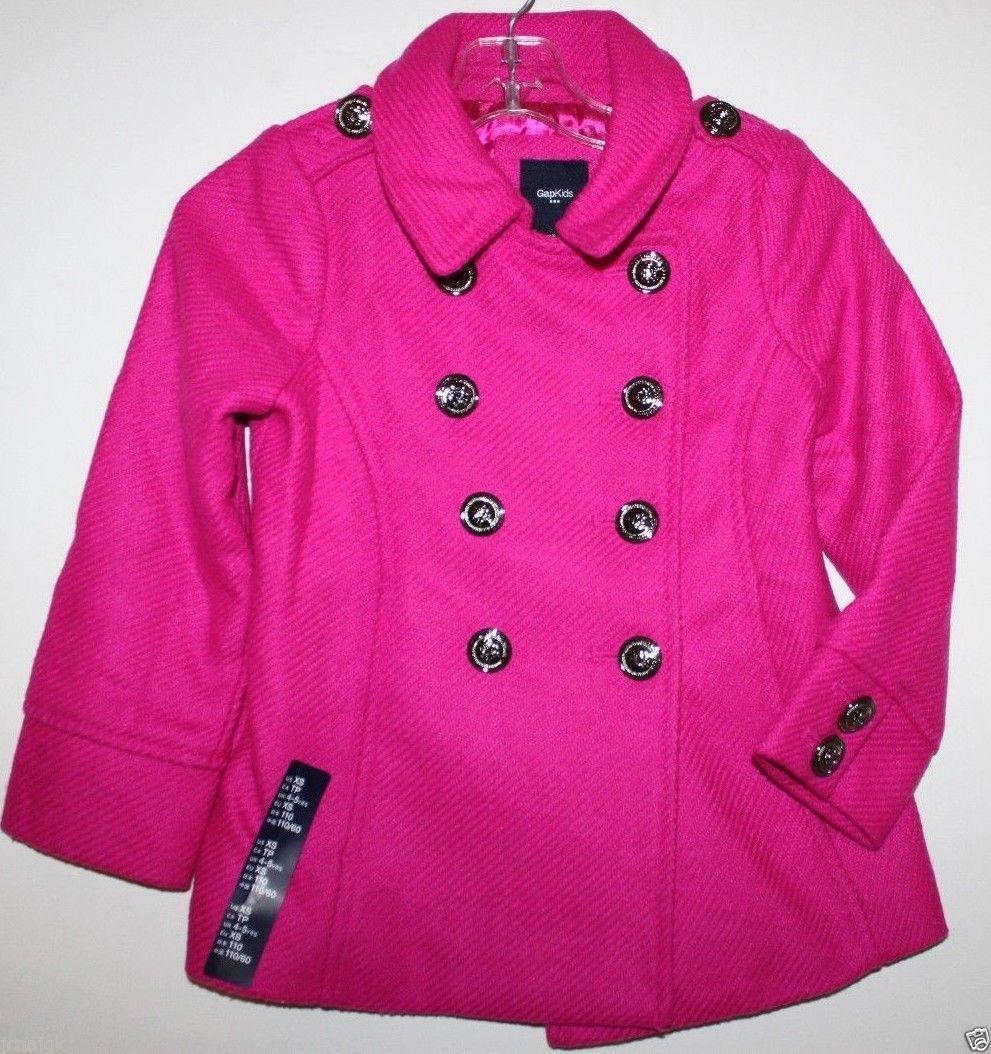 Gap Kids NWT Girl's XXL 13 Pink Boucle' Wool Blend Pea Coat Jacket image 2