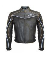 New Men's Buell Brown Zip Up Stylish Safety Leather Jacket - $209.00+