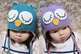 Knit Crochet Newborn Baby Child Kids Blue Purple Owl Twins Hat Cap Beani... - $13.99