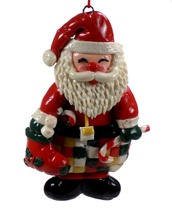 Dough Style Christmas Ornament Santa With Candy Cane #49 - $5.95