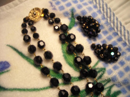 Vintage Necklace 2 Strand AB Black & Gold Plastic Bead Gold Clasp Clip E... - $14.95