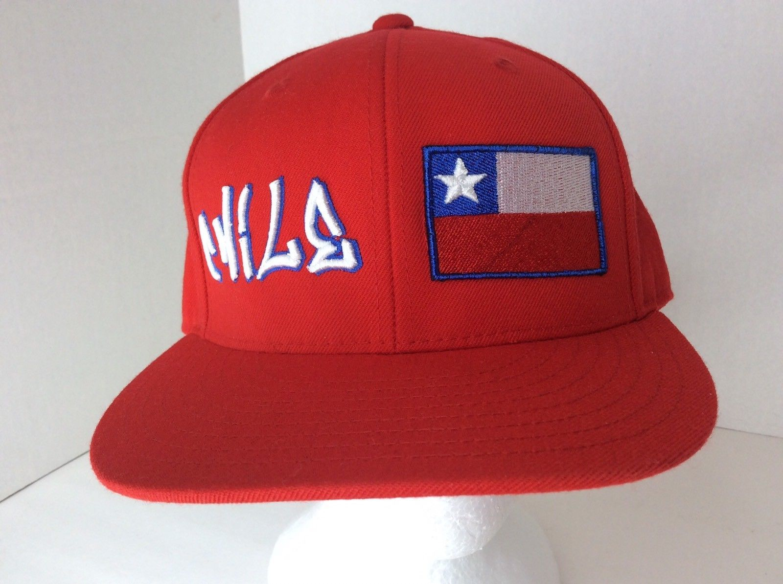 Lids Chile Flag Country Red Custom 3D Embroidered Baseball Fitted Hat Cap Sz 7
