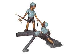 "Two Boys Fishing on Tree Log Bronze Fountain -  Size: 53""L x 25""W x 47""H. - $2,900.00"