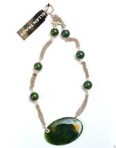 """Ellen Tracy Silvertone Semi-Precious Toggle Necklace 18"""" New MSRP $48.00 - $19.99"""
