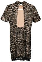 Forever 21 Women's Black Crochet Lace Overlay Open Back Padded Shoulder Dress S image 2