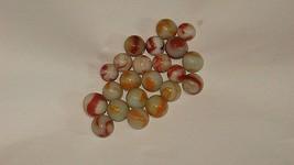 22 Vintage Agate Marbles. Yellow , Orange, White. Swirl Pattern - $14.84