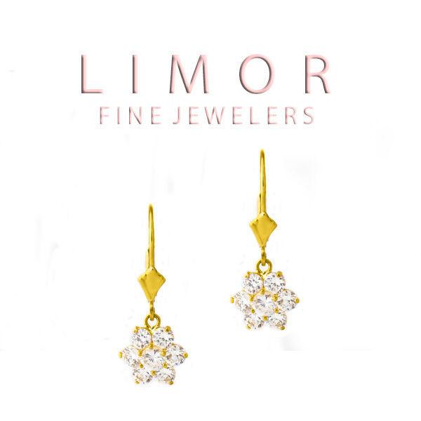 1.30CT Ladies Elegant Leverback Flower Shape White Sapphire Earrings 14K YG - $108.89