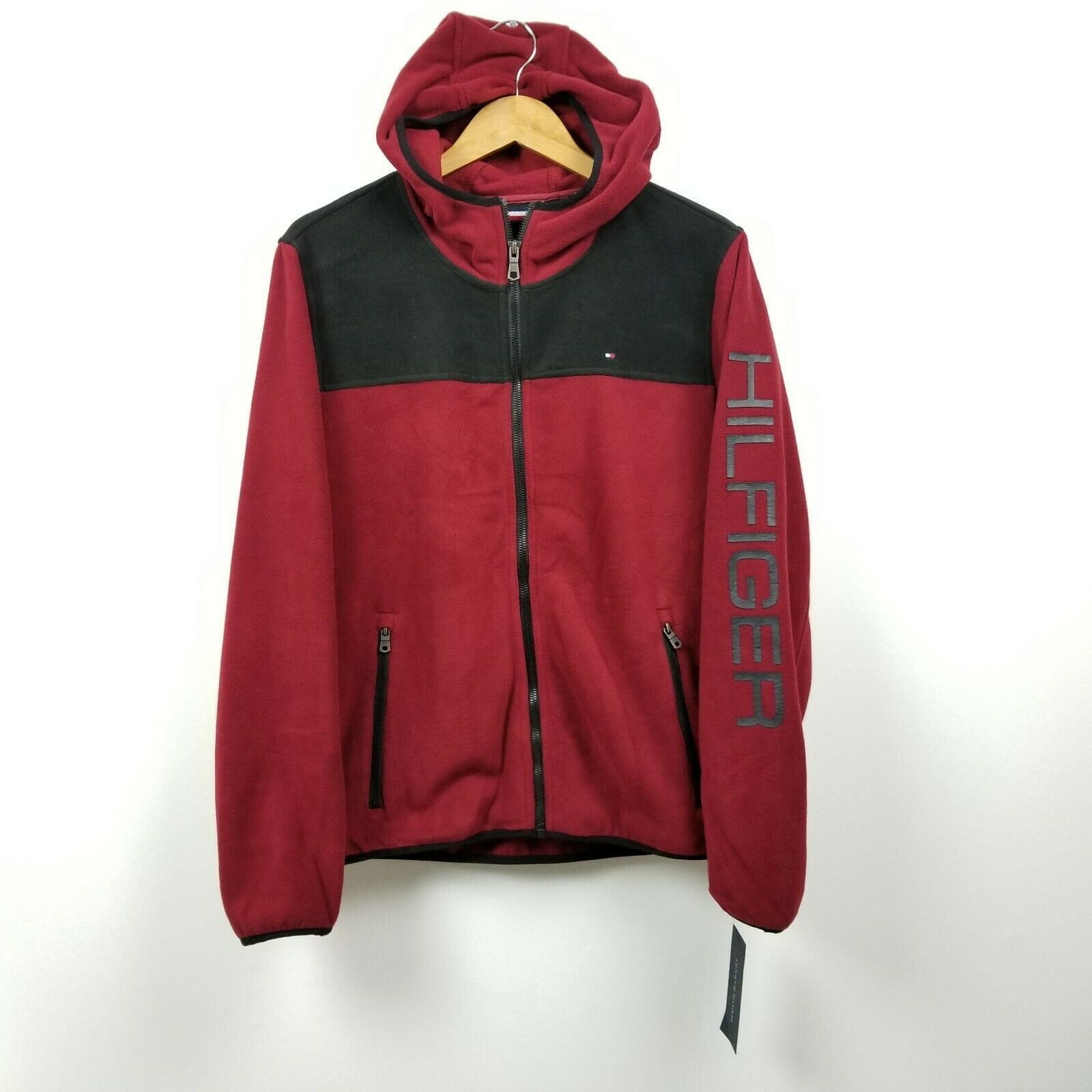 Primary image for Tommy Hilfiger Mens Fleece Hoodie Jacket Small S Red Black Spellout NWT $160