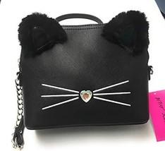 Betsey Johnson Black Crossbody Purse/Handbag - Cat Face w/Fur Ears & Silver Chai