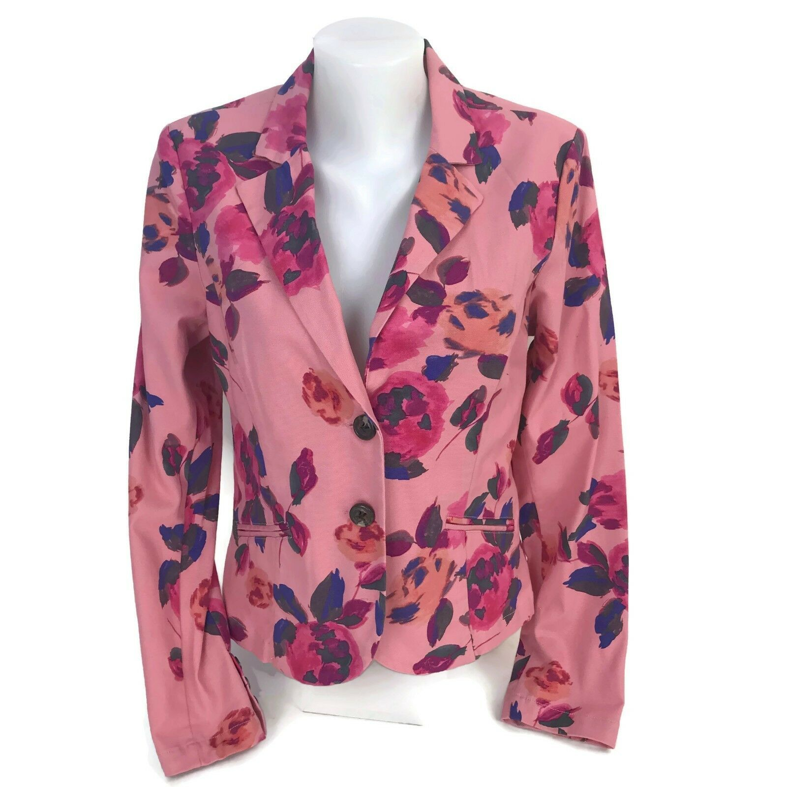 Primary image for CAbi Women's Rose Garden Jacket Pink Floral Cotton Stretch Blazer # 804 Size 8