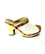 Ugg White Tan Clog Mule Wooden Heels Slip On Shoes Women's 8 (SW5) - $57.39