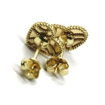 18K YELLOW GOLD BOTTON HEART EARRINGS 10 MM, DOUBLE LAYER FINELY WORKED MIRROR image 4