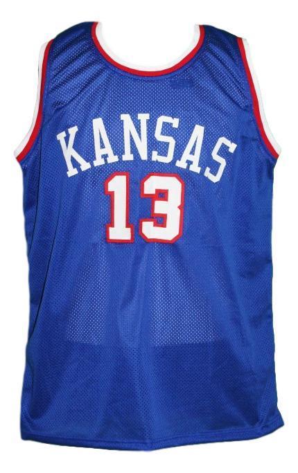 Wilt chamberlain  13 custom college kansas basketball jersey blue   1