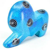 Crafts Caravan Hand Carved Soapstone Speckled Blue Lion Figurine Made in Kenya image 3