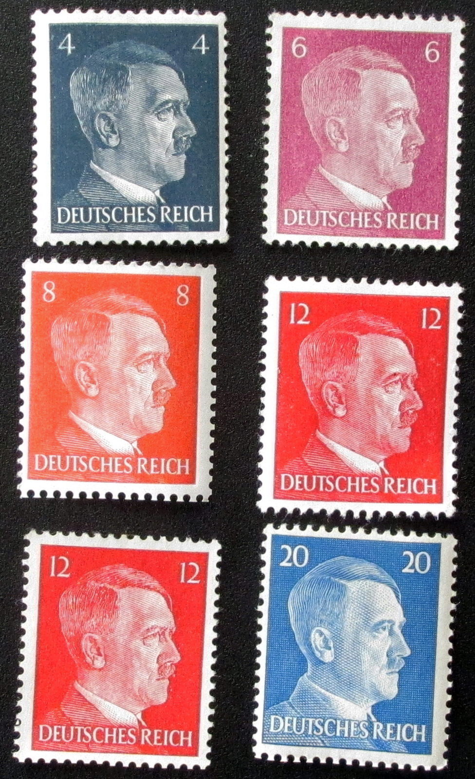104   lot of 6 1941  wwii  adolph hitler third reich stamps unused 1