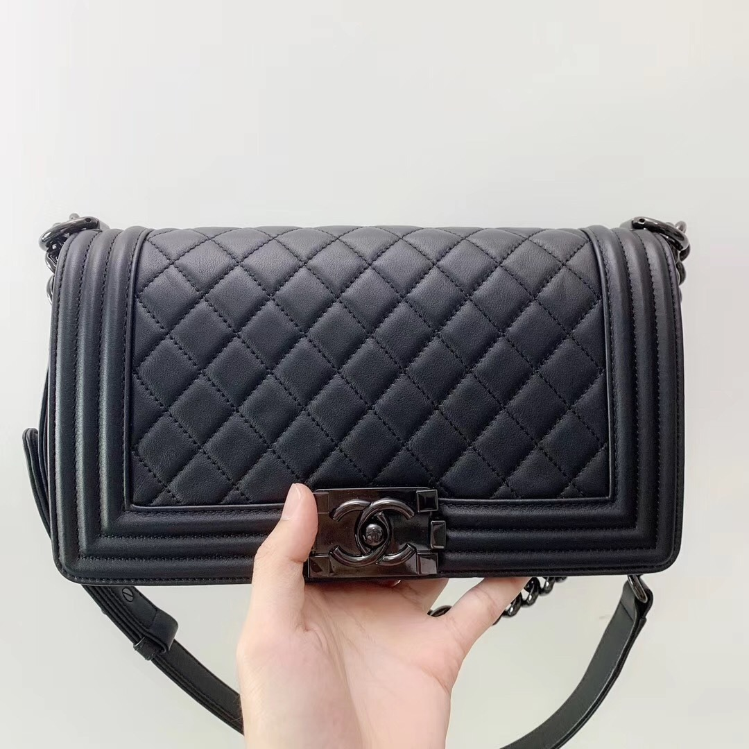 AUTH RARE CHANEL 2018 SO BLACK QUILTED CALFSKIN MEDIUM BOY FLAP BAG RECEIPT