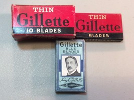 Gillette Thin Blade Gillette Blue Blades with Original Wrapper Box Lot o... - $18.66