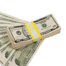 PROP MOVIE MONEY - 2000 Series $10 Full Print Aged Prop Money Stack - $20.00