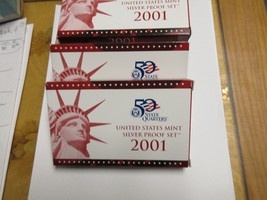 2001 , United States Mint , Silver Proof Set , Lot of 5 Sets - $222.75