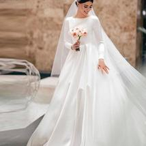 Simple Vintage White Ivory A-line Long Sleeves Royal Satin Castle Bridal Gown image 7